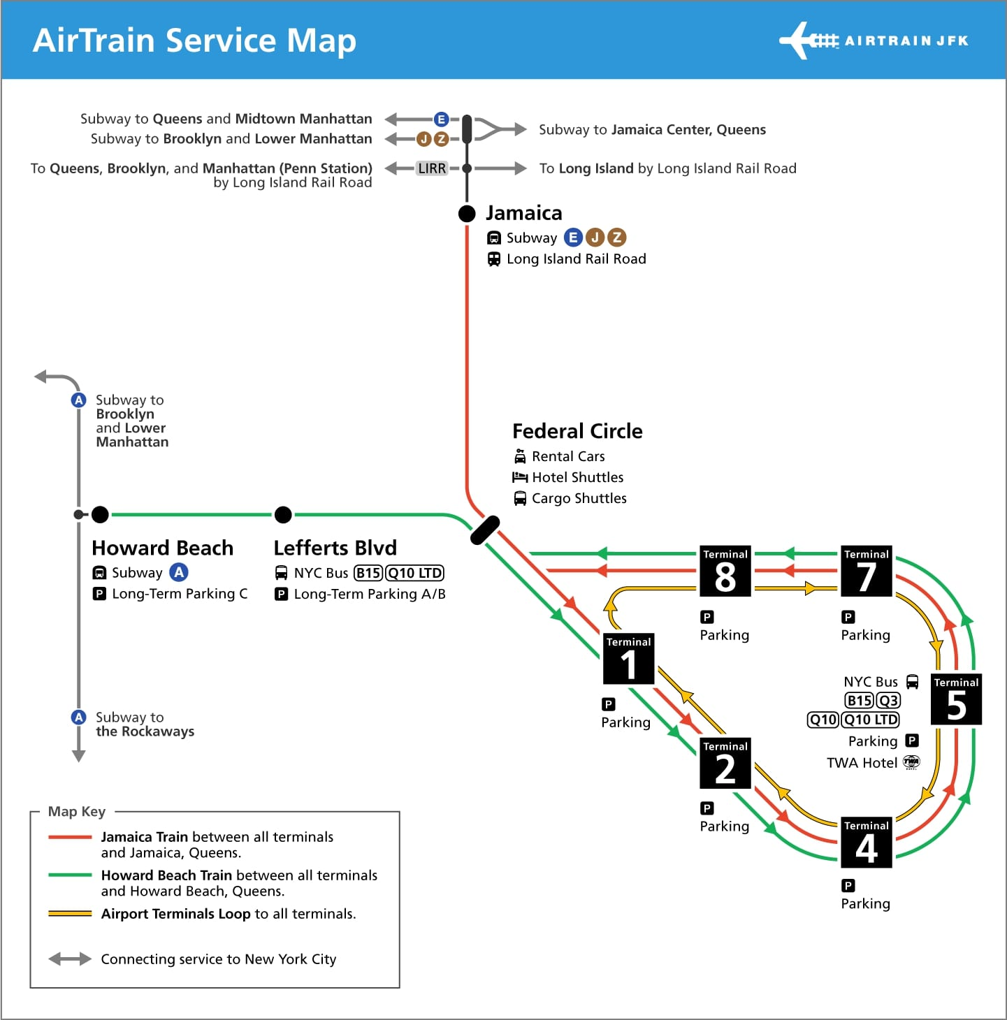 Q Line Subway Map.Public Transportation Jfk John F Kennedy International Airport